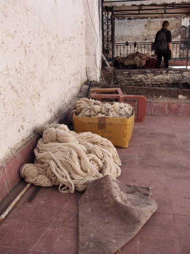 Fresh wool at the carpet shop, Fes